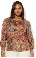 Lauren by Ralph Lauren Plus Off The Shoulder Silk Top - Lyst