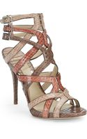 B Brian Atwood Carbinia Snakeembossed Strappy Sandals - Lyst