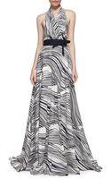 Carolina Herrera Wave-striped Halter Gown - Lyst