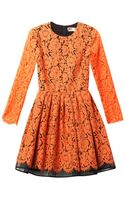 MSGM Long-sleeved Lace Dress - Lyst