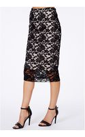 Missguided Graciana Black Lace Midi Skirt - Lyst