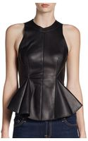 3.1 Phillip Lim Leather Peplum Top - Lyst