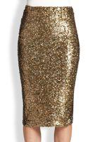 Alice + Olivia Metallic Sequin Pencil Skirt - Lyst
