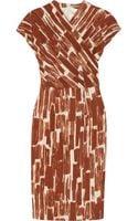 Bottega Veneta Printed Woolcrepe Wrapeffect Dress - Lyst