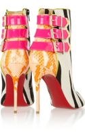 Christian Louboutin Triboclou 100 Zebraprint Calf Hair and Python Ankle Boots - Lyst