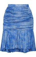 Balmain Ruched Printed Jersey Skirt - Lyst