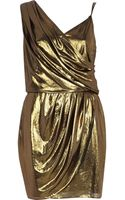 River Island Gold Metallic Asymmetric Slip Dress - Lyst