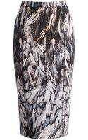Amanda Wakeley Featherprinted Scuba Pencil Skirt - Lyst