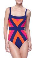 Gottex Squareneck Onepiece Swimsuit - Lyst
