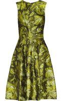 Oscar de la Renta Belted Metallic Jacquard Dress - Lyst