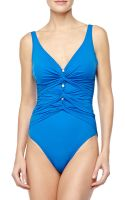 Gottex Le Ribot Gathered Onepiece Swimsuit Blue - Lyst