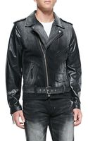 PRPS Cruiser Denim Moto Jacket with Leather Sleeves - Lyst