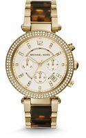 Michael Kors Parker Goldtone Stainless Steel and Tortoise Acetate Watch - Lyst