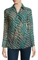 BCBGMAXAZRIA Arrow Threadprint Chiffon Blouse - Lyst