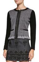 Nanette Lepore Intrigue Leathertrim Tweed Jacket - Lyst