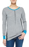 Autumn Cashmere Colorblock Ribbed Cashmere Henley Cmntpeppermykon Small46 - Lyst