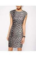 Asos Bodyconscious Scuba Dress in Animal Print - Lyst