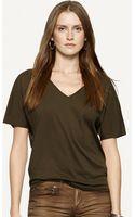 Ralph Lauren Black Label Cotton V-neck Top - Lyst