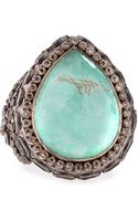 Armenta New World Large Pear Green Turquoise Ring - Lyst
