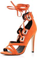 River Island Orange Lace Up Stiletto Sandals - Lyst