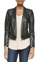 Three Dots Fold Front Leather Jacket Soft Slouch Tank - Lyst