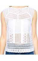 Asos Exclusive Lace Paneled Shell Top - Lyst