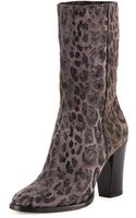 Jimmy Choo Music Leopardprint Suede Ankle Boot Gray - Lyst