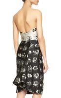 Lela Rose Floralprint Strapless Flounceback Dress - Lyst