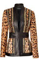 Balmain Leatherleopard Print Haircalf Chain Embellished Jacket - Lyst