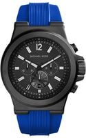 Michael Kors Mens Chronograph Dylan Blue Silicone Strap Watch 48mm - Lyst