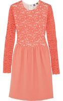 MSGM Lace and Stretch-Crepe Mini Dress - Lyst
