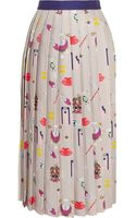 Mary Katrantzou Pleated Printed Satintwill Midi Skirt - Lyst