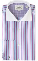 Ted Baker Tailored Fit Purple Double Cuff Striped Shirt - Lyst