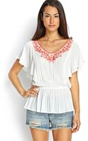 Forever 21 Embroidered Flutter Sleeve Top - Lyst
