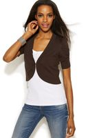 Inc International Concepts Petite Ruchedsleeve Cropped Cardigan - Lyst