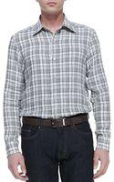 Ermenegildo Zegna Plaid Linen Buttondown Shirt - Lyst