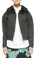 3.1 Phillip Lim Rabbit Fur Collared Jacket - Lyst