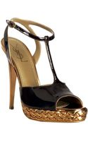 Saint Laurent Chocolate Patent Tribute T-strap Platform Sandals - Lyst