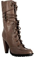 7 For All Mankind Taupe Leather Everly Lace-up Boots - Lyst