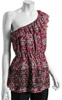 Free People Burgundy Floral Print Woven One Shoulder Ruffle Tunic - Lyst