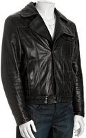 John Varvatos Black Quilted Lambskin Leather Motorcycle Jacket - Lyst