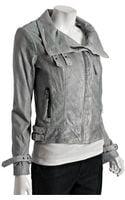 Michael by Michael Kors Blue-grey Distressed Leather Asymmetrical Zip Jacket - Lyst