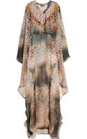 Halston Printed Silk-chiffon Maxi Kaftan - Lyst