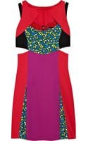 Versus  Color-block and Floral-print Crepe Mini Dress - Lyst
