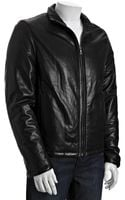 Prada Black Leather Motorcycle Zip Front Jacket - Lyst