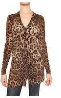 Dolce & Gabbana Printed Leopard Wool Knit Cardigan Sweat - Lyst