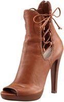 Miu Miu Napa Leather Peep-toe Zip Back Ankle Boot - Lyst