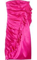 Emanuel Ungaro Ruffled Hammered Silk-satin Dress - Lyst
