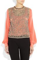 Preen By Thorton Bregazzi Tron Embellished Silk and Tulle Blouse - Lyst
