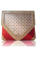 Poupee Couture Crystal Clutch Gold Metallic Red Leather - Lyst